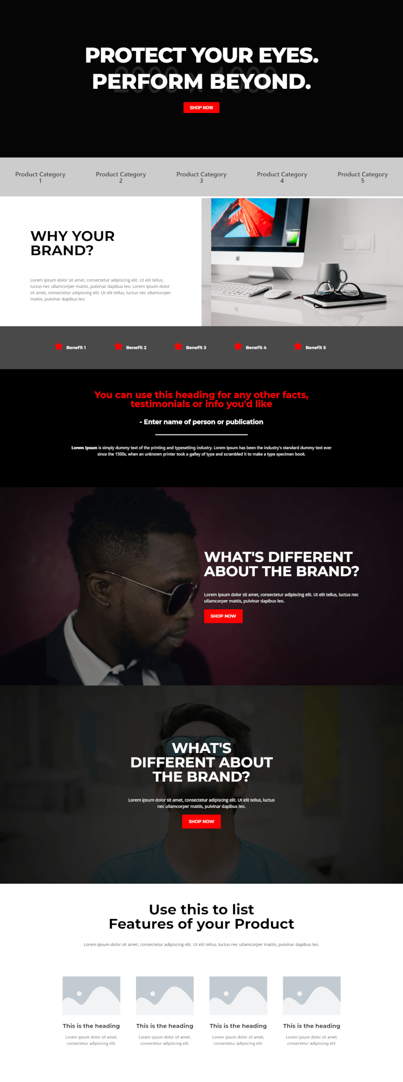 Glasses Industry Elementor Ecommerce Template